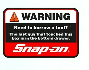 New Vintage Snap On Tools Tool Box Sticker Decal Man Cave Garage Warning 41