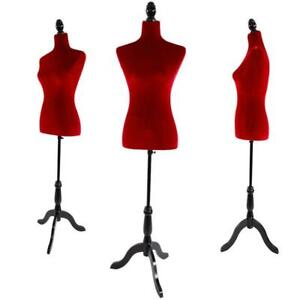 Red Female Mannequin Dress Form Display W Black Tripod Stand Designer Pattern