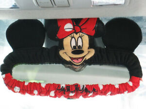 Minnie Mouse Disney Car Suv Van Accessory Red black Rear View Mirror Cover 2