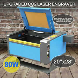 80w Co2 Usb Laser Engraver Cutter 700x500mm Engraving Cutting Machine W 4 Wheels