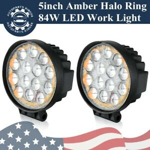 84w 5inch Spot Round Led Work Light Offroad Fog Driving Drl Suv Atv Truck 4wd