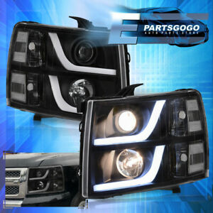 For 07 13 Chevy Silverado Led Drl Projector Head Lights Lamps Lh Rh Black Clear