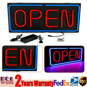 24x12 Ultra Bright Neon Led Open Light Business Sign 30w Horizontal Decorate