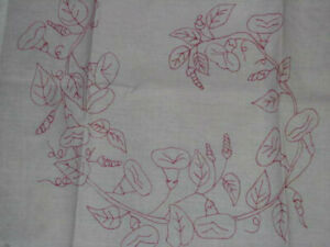 Pair 1890s Antique Redwork Embroidered Pillow Shams Turkey Red Calla Lillies