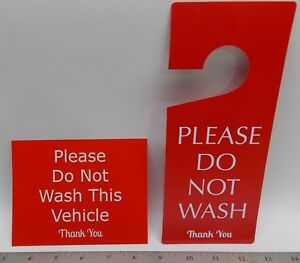Do Not Wash This Vehicle Mirror Hanger Sign Dash Card Set Detailing Car Wash