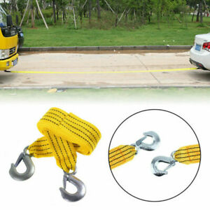 3 Tons 4 Meter Car Tow Cable Towing Strap Rope With Hooks Emergency Heavy Duty