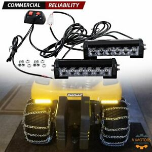 Pair 6 Led Amber Led Grill Light Bar Strobe Flashing Emergency Mounting Bracket