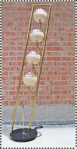Vintage Mid Century Tilt Floor Pole Lamp Textured Glass Shades 4 Lights Mazzega