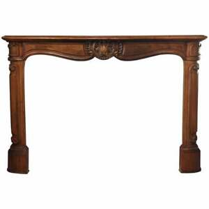 Antique French Louis Xv Style Carved Fireplace Mantle 19th Century