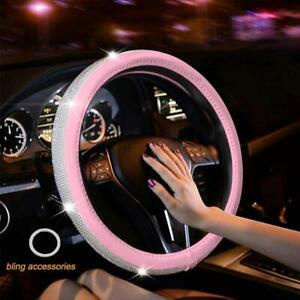 Diamond Leather Steering Wheel Cover With Bling Bling Crystal Rhinestones Pink