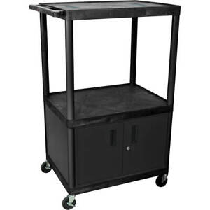 54 Tall Endura Molded Plastic Av Utility Cart With Locking Storage Cabinet