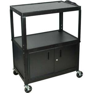 Extra Large 24 To 42 Height Adjustable Av Utility Cart With Storage Cabinet