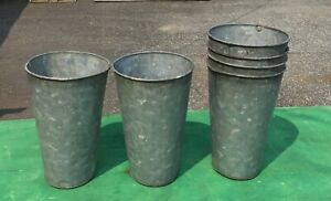 6 Old Galvanized Sap Buckets Flowers 11x7 Crafts L K