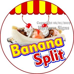 Banana Split Ice Cream Decal choose Your Size Concession Food Truck C Sticker
