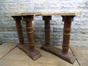 2 Table Leg Bases Vintage Wood Bases Counter Desk Legs Architectural Salvage