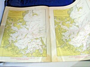 Antique Booklet Tidal Current Charts Boston Harbor Maritime Navigational Charts