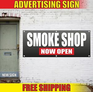 Smoke Shop Now Open Advertising Banner Vinyl Mesh Decal Sign Store House Tobacco