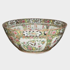19th C Chinese Rose Medallion Punch Bowl