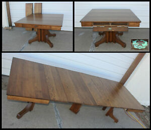 Antique Dated 1873 Robbins Oak Dining Table 6 Leaves Stored Inside Apron Skirt