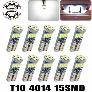 10x White Led T10 194 192 168 158 W5w Map Dome Trunk License Interior Light Bulb