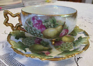 Royal Sealy China Teacup Saucer Set Gold Luster Fruit 3 Footed Japan