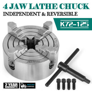 Lathe Chuck K72 125 5 4 Jaw Independent Cnc Wood Turning 5 Inch Free Warranty