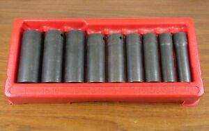 Snap on 9 pc 1 2 Drive 6 Point 1 Sae Flank Deep Impact Socket Set 309simya