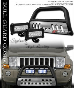 Matte Black Bull Bar Guard Skid 36w Cree Led Light For 05 07 Jeep Grand Cherokee