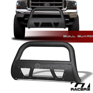 For 1999 2004 F250 Excursion Matte Blk Studded Mesh Bull Bar Brush Bumper Guard