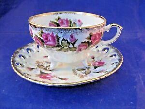 Royal Sealy China Footed Tea Cup And Saucer Made In Japan Reticulated Saucer