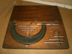 Vintage Brown And Sharpe 2 6 Interchangeable Anvil Mic Set In Wooden Case