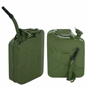 2pcs 5 Gallon 20l Jerry Can Military Style Gas Gasoline Fuel Storage Steel Tank