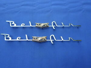 New 1953 54 Chevrolet Bel Air Rear Quarter Panel Script Emblem Pair Gm Licensed