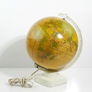 Vintage Cram S Illuminating 10 Terrestrial Glass World Globe 14 5 Tall