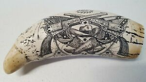 Vintage Scrimshaw Resin Wild West El Paso Texas Replica Carved Whale Tooth Kr19