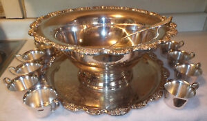Vintage 1979 Towle Silver Plated Punch Bowl Set El Grande Royal Rose