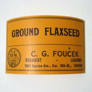 Ground Flaxseed Antique Pharmacy Drug Store Medicine Bottle Label New