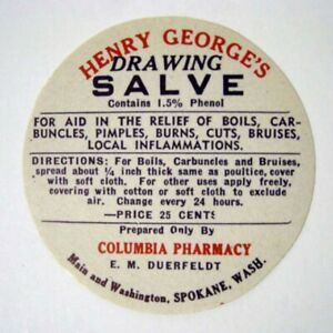 Drawing Salve George S Antique Pharmacy Drug Store Medicine Bottle Label New