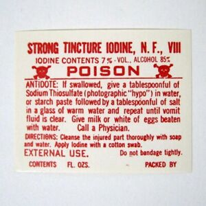 Strong Tincture Alcohol Antique Pharmacy Drug Store Medicine Bottle Label New