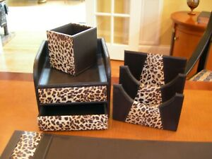 John Richards 5 Pc Leopard Print Brown Leather Desk Pad File Tray Cup Desk Set
