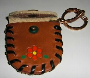 Vtg Art Circa 1 Toll Booth Leather Coin Purse Tote Key Chain Off Display 60 Nos
