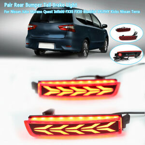 2x Led Rear Bumper Brake Tail Light Reflector For Nissan Murano Quest Infiniti