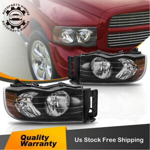 For 02 05 Dodge Ram 1500 2500 3500 Pickup Clear Headlight Head Lamps Black amber