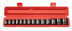 1 2 Inch Drive Shallow Impact Socket Set 11 Mm 32 Mm Metric Cr V 6 Point