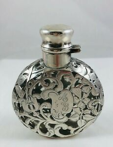 Antique Alvin Sterling Silver Overlay Glass Unusual Round Disc Perfume Bottle