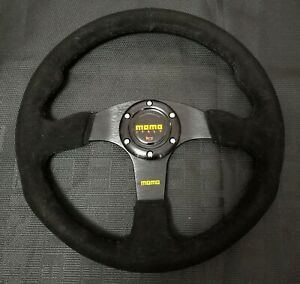 14 Momo Style Dished Black Stitching Suede Sport Steering Wheel W Horn Button