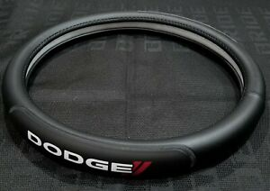 Brand New Dodge Black Pvc Leather Steering Wheel Cover 15 Inches