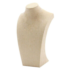 Necklace Pendant Display Bust Mannequin Stand Holder Rack Linen 205 X 340mm