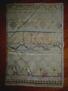 Primitive Antique Needlework Sampler Tapestry Hand Embroidery Silk On Linen