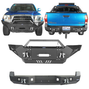 Front Rear Bumper W Winch Plate Fit Toyota Tacoma 2005 2015 texture Black